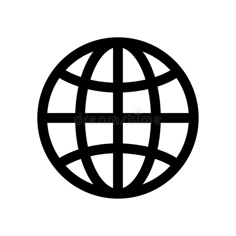 Globe symbol. Planet Earth or internet browser sign. Outline modern design element. Simple black flat vector icon with stock illustration