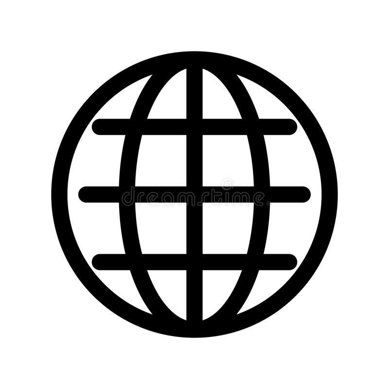 Globe symbol. Planet Earth or internet browser sign. Outline modern design element. Simple black flat vector icon with. Rounded corners vector illustration