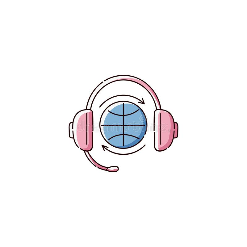 Globe symbol wearing headphones, flat icon of global Earth music broadcasting system. Or audio language translation, blue planet in pink headset - isolated vector illustration
