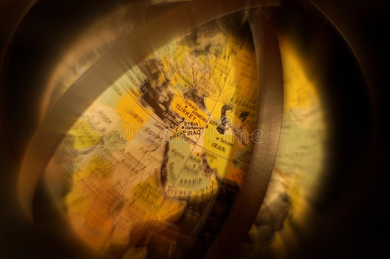 Globe - Syria. The Globe focus on Syria and bordering countries. where ISIL/ISIS actions have created an humanitarian crises felt not just in the Middle East or royalty free stock photography