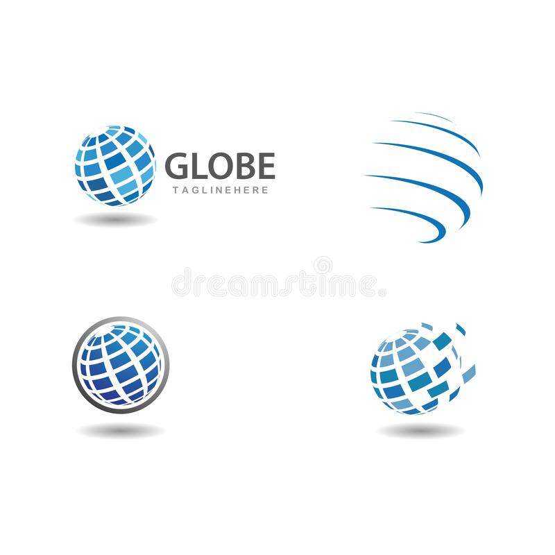 Globe tech logo. Vector template, icon, world, design, earth, graphic, symbol, business, abstract, global, concept, illustration, pixel, internet, network stock illustration