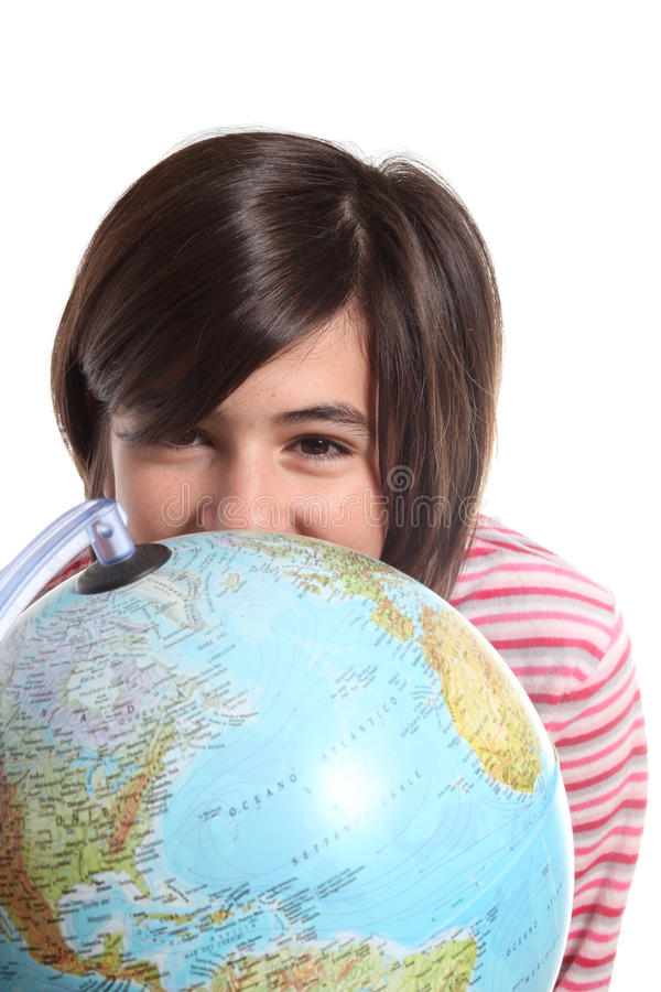 Download Globe And Teenager On White Stock Photo - Image: 19302056