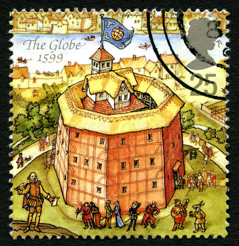 The Globe Theatre UK Postage Stamp stock photos