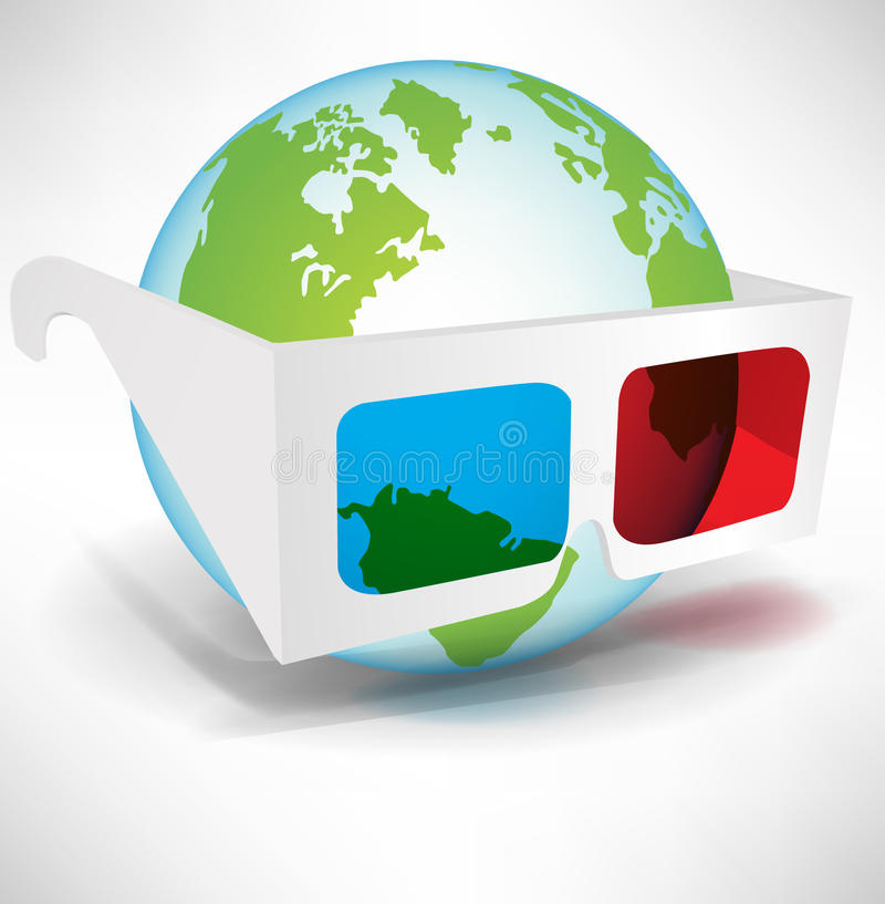 Download Globe With Three Dimensional Glasses Stock Vector - Image: 22439352