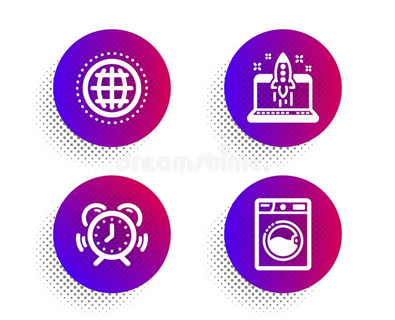 Globe, Time management and Start business icons set. Washing machine sign. Vector. Globe, Time management and Start business icons simple set. Halftone dots vector illustration