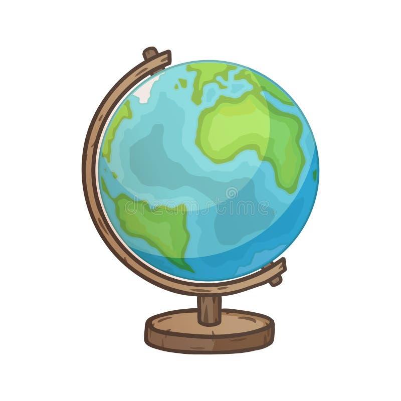 Globe tiré par la main de bande dessinée de vecteur illustration libre de droits