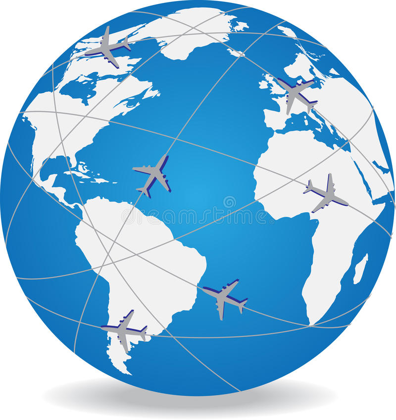 Globe with trading paths and points. Vector illustration stock illustration