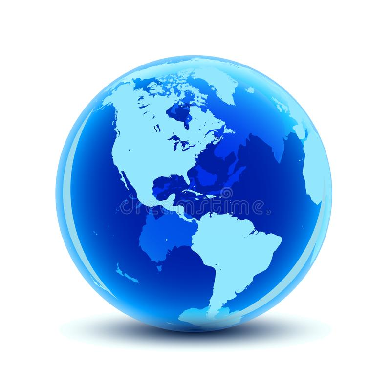 Globe transparent avec les continents bleus - vecteur illustration libre de droits