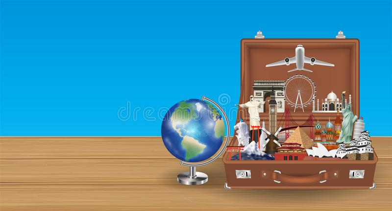 Globe travel landmark in suitcase with airplane vector illustration