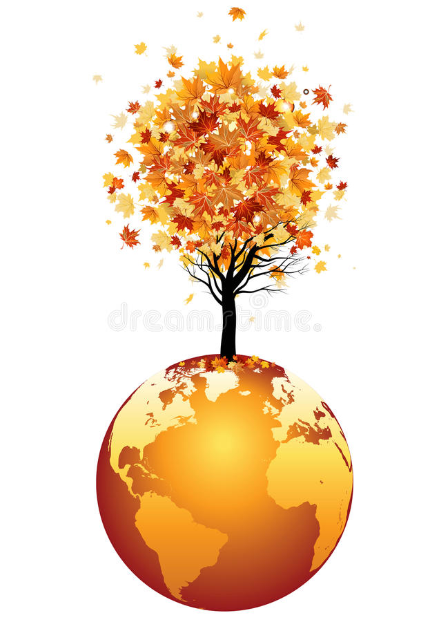 Download Globe and tree stock illustration. Illustration of grass - 26552205