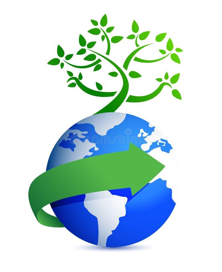Globe And Tree Illustration Design Stock Photography