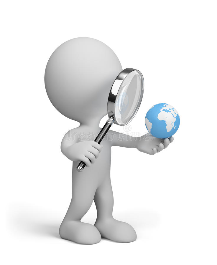 Globe under a magnifying glass royalty free illustration