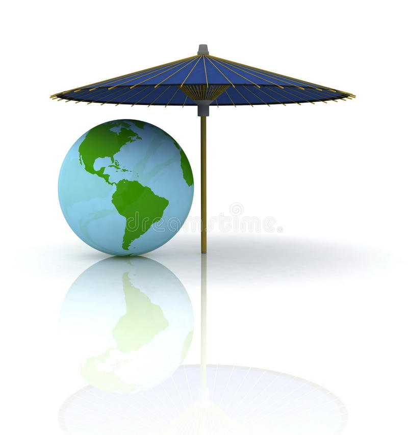 Download Globe under an umbrella stock illustration. Image of surf - 21204978