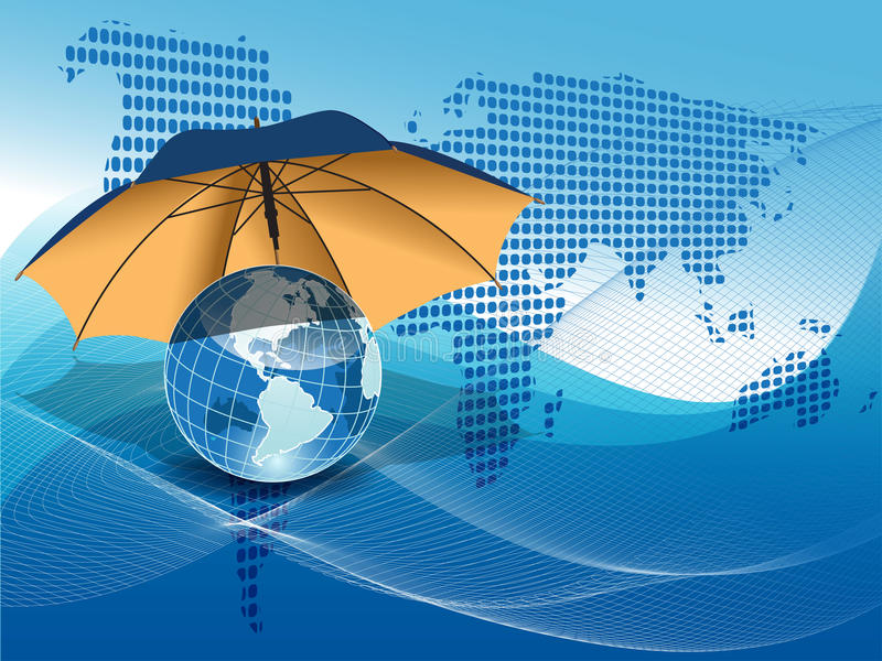 Globe under the umbrella stock illustration