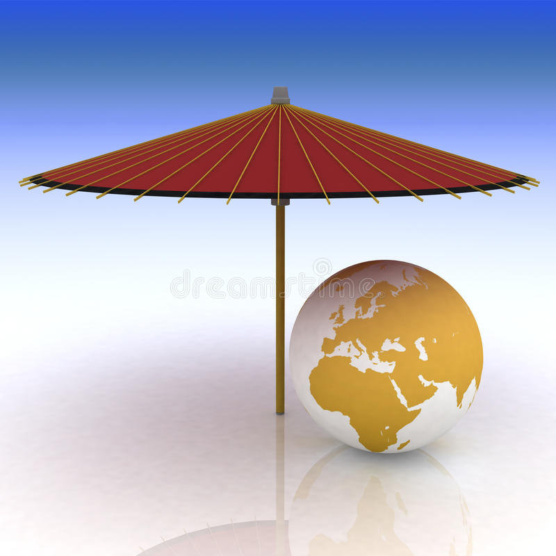 Download Globe under an umbrella stock illustration. Illustration of world - 21508979