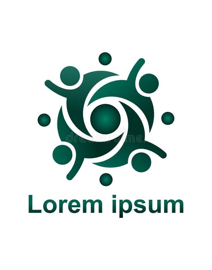 Globe uni par gens Logo abstrait de personnes de vecteur illustration de vecteur