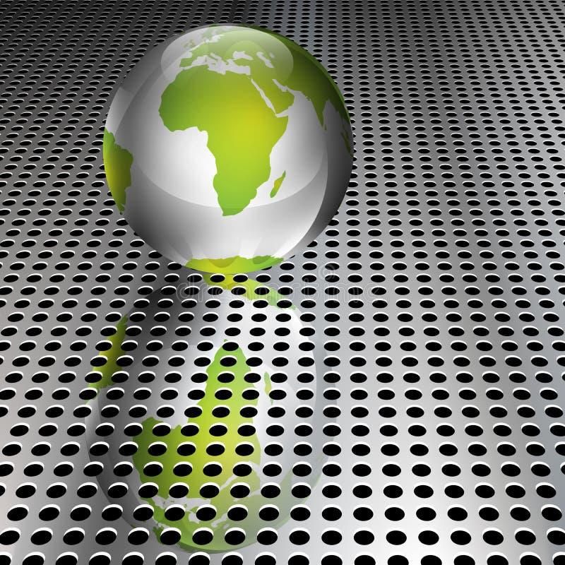 Globe vert métallique sur le réseau de chrome illustration libre de droits