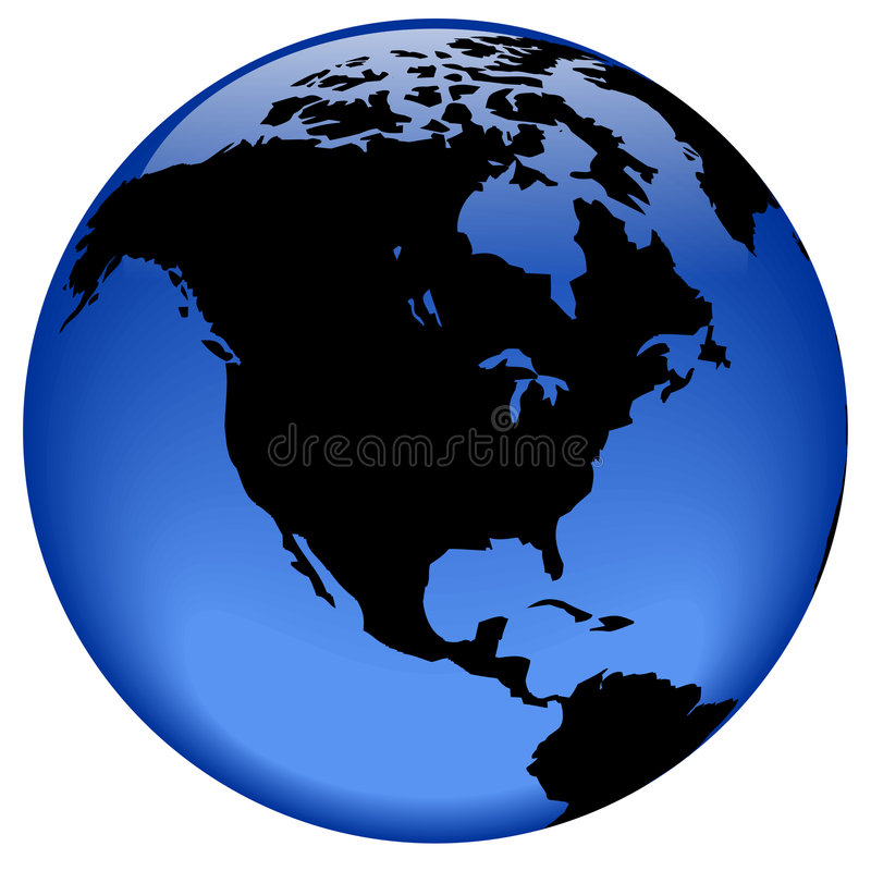Globe view - North America stock illustration