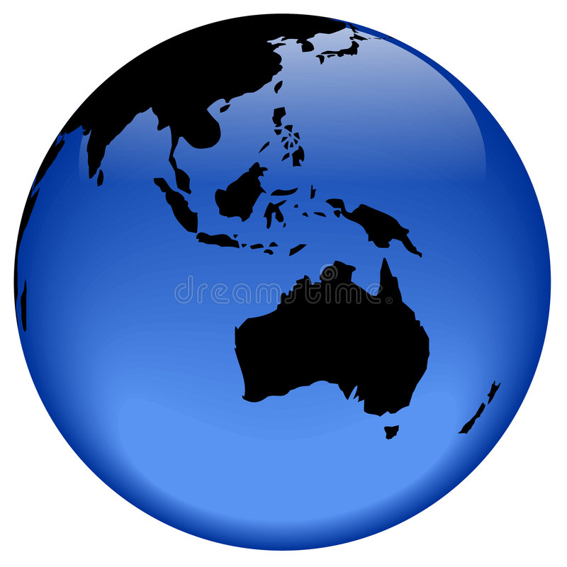 Download Globe view - Oceania stock illustration. Illustration of blue - 310191