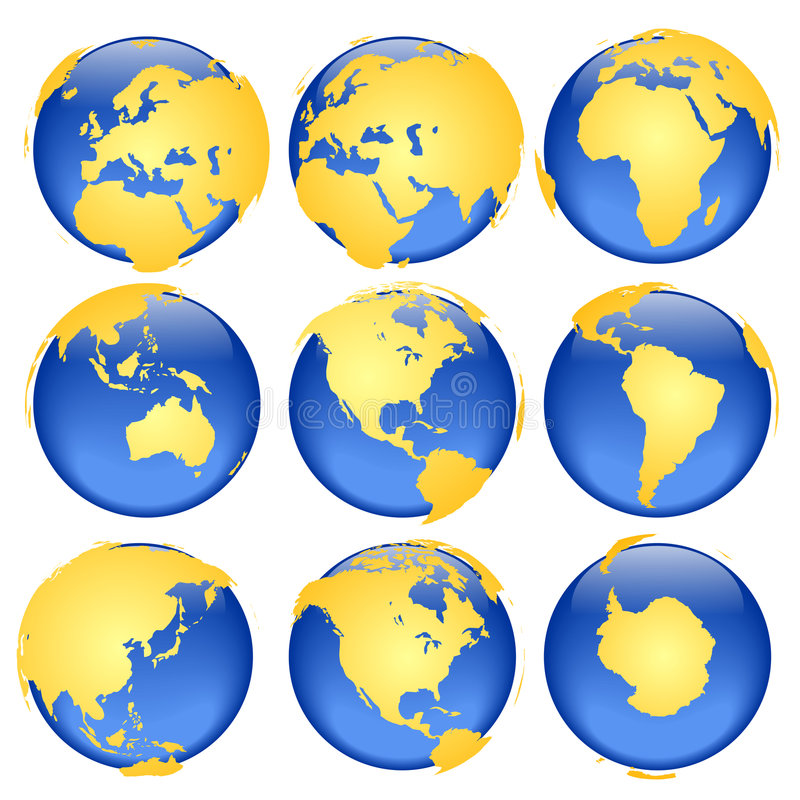 Globe views #6. Rasterized pseudo 3d globe views - land is intentionally moved above the globe surface (traditional set of colors vector illustration