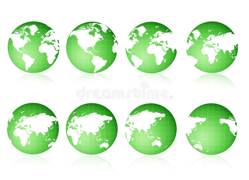 Globe views Green vector illustration