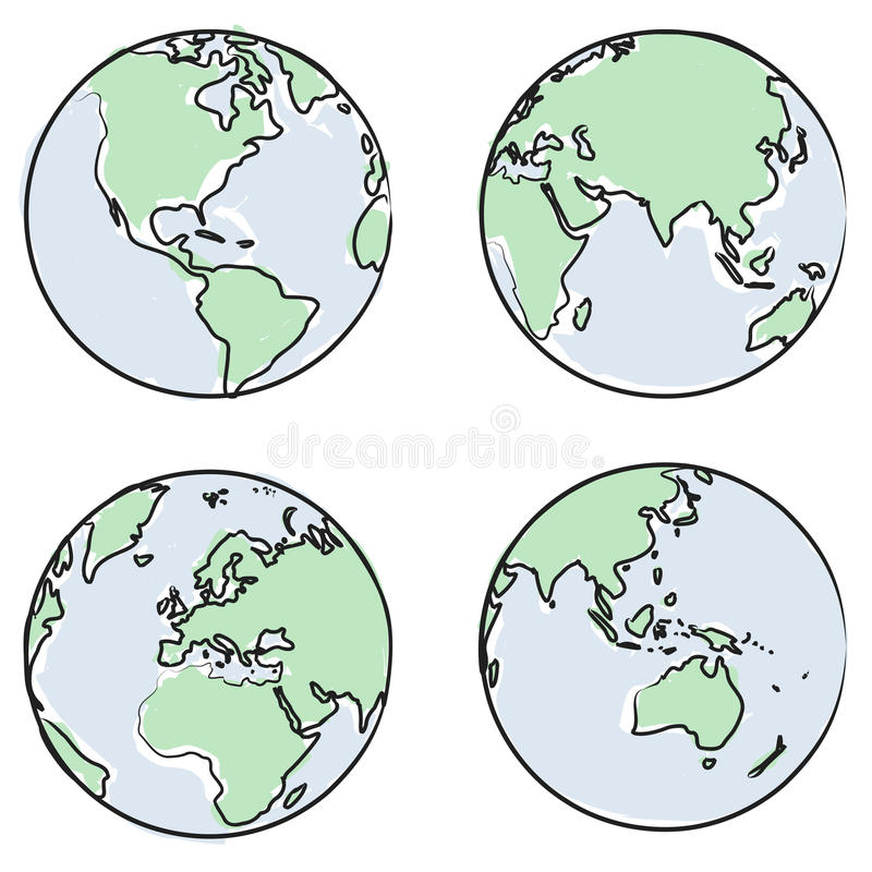 Globe views vector. Planet earth globe drawing, different views and countries + vector eps file