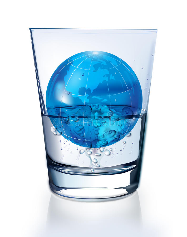 Download Planet Earth In Glass Of Water Stock Vector - Illustration: 10943231