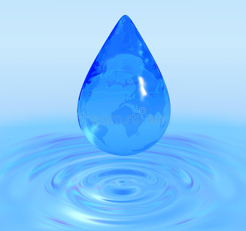 Globe water drop. 3D image stock illustration