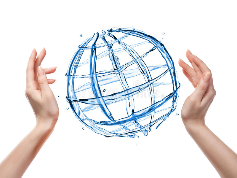 Download Globe From Water With Human Hand Isolated On White Stock Photo - Image: 34210200