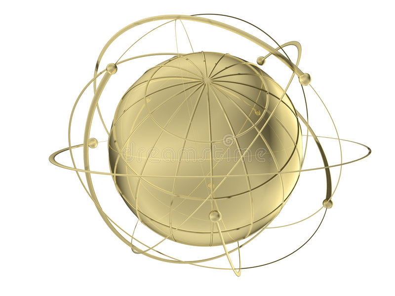 Download Globe With Wired Orbits Of Satellite Stock Illustration - Image: 7680556
