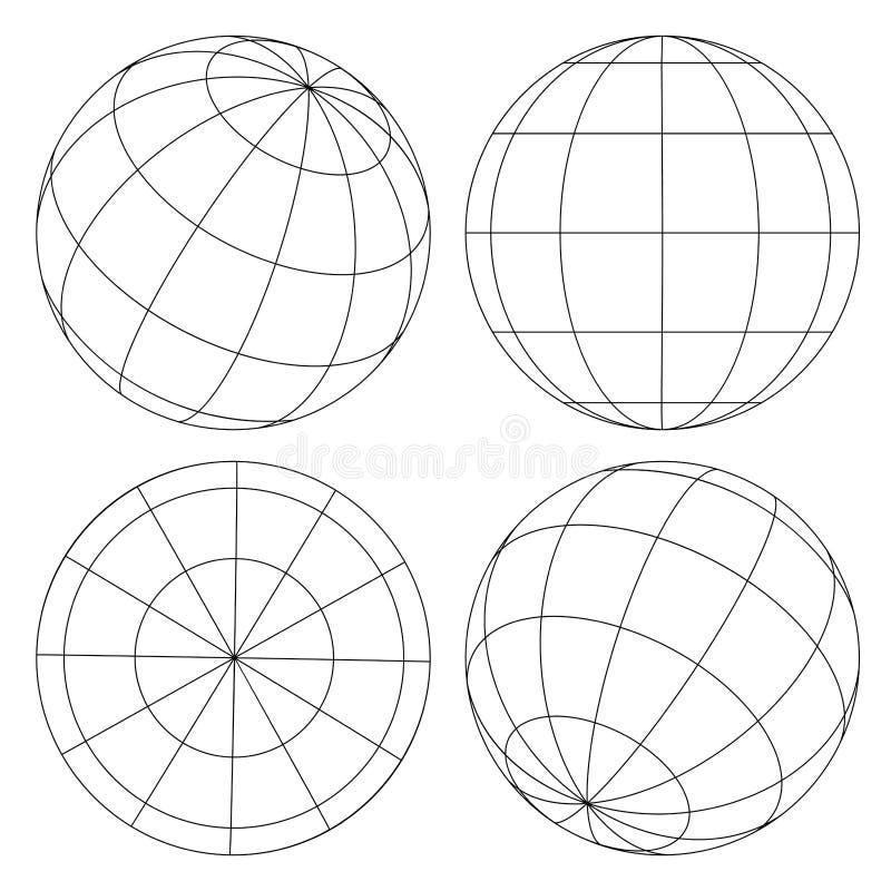 Globe wireframe set royalty free illustration