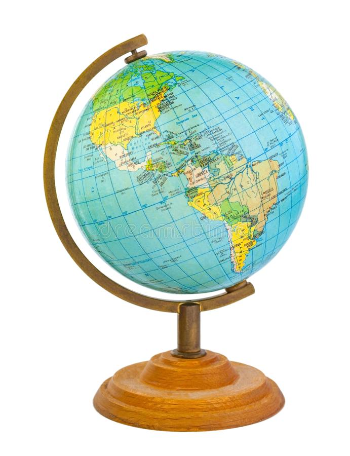 Globe on a wooden stand with visible western hemisphere stock photos
