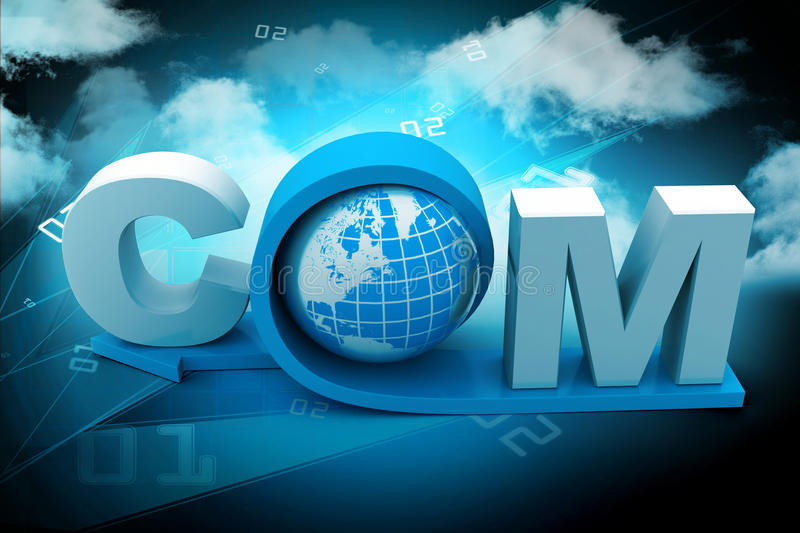 Globe with word dot com. In color background vector illustration