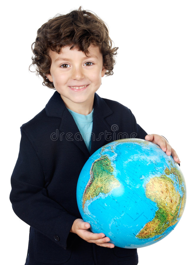 With a globe of the world. Boy with a globe of the world over white background royalty free stock image