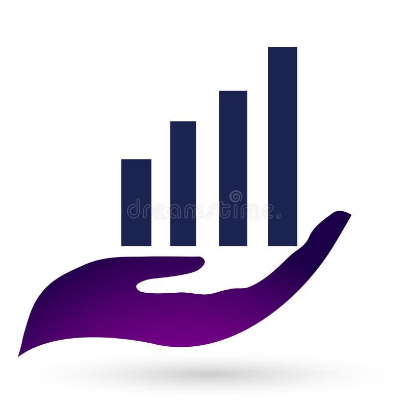 Globe world business growing increasing hand holding progress successful graph bar chart celebrating illustration vector stock illustration