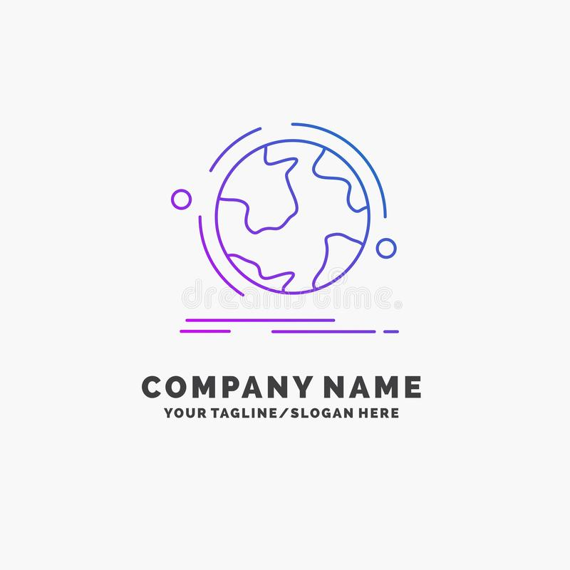 globe, world, discover, connection, network Purple Business Logo Template. Place for Tagline royalty free illustration