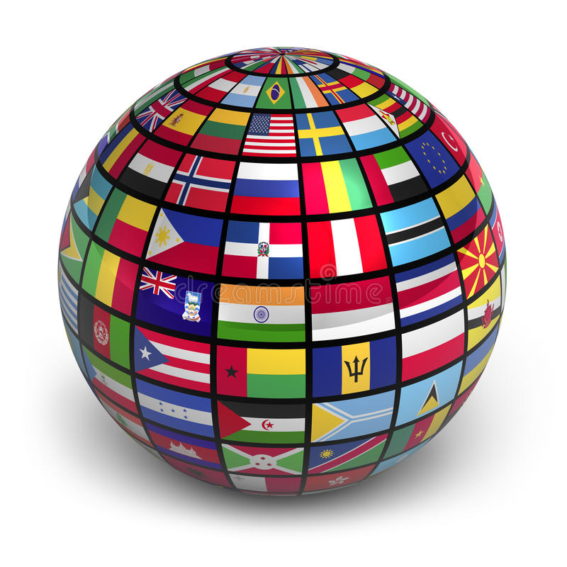 Download Globe with world flags stock illustration. Image of continents - 21637470