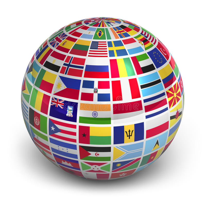 Globe with world flags vector illustration