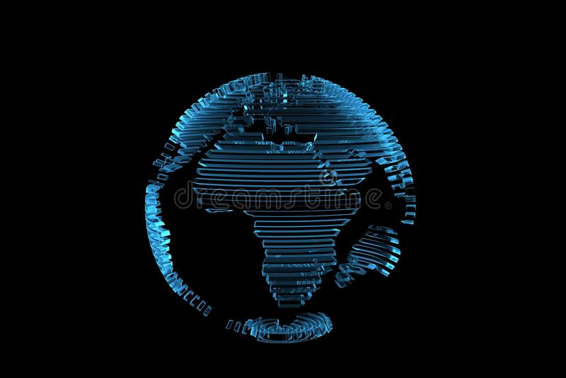 Globe world map 3D rendered xray blue stock illustration
