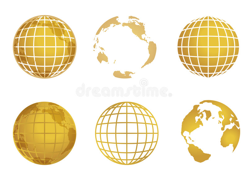 Globe world map. Spherical presentation of the world, globe and map in gold colors