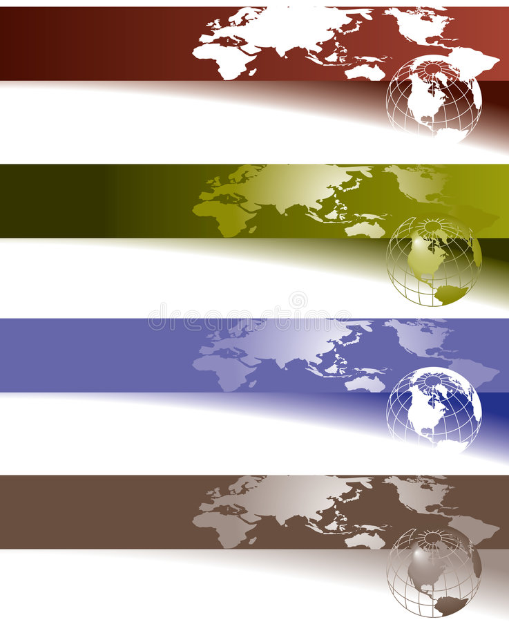 Globe and world map banners stock illustration