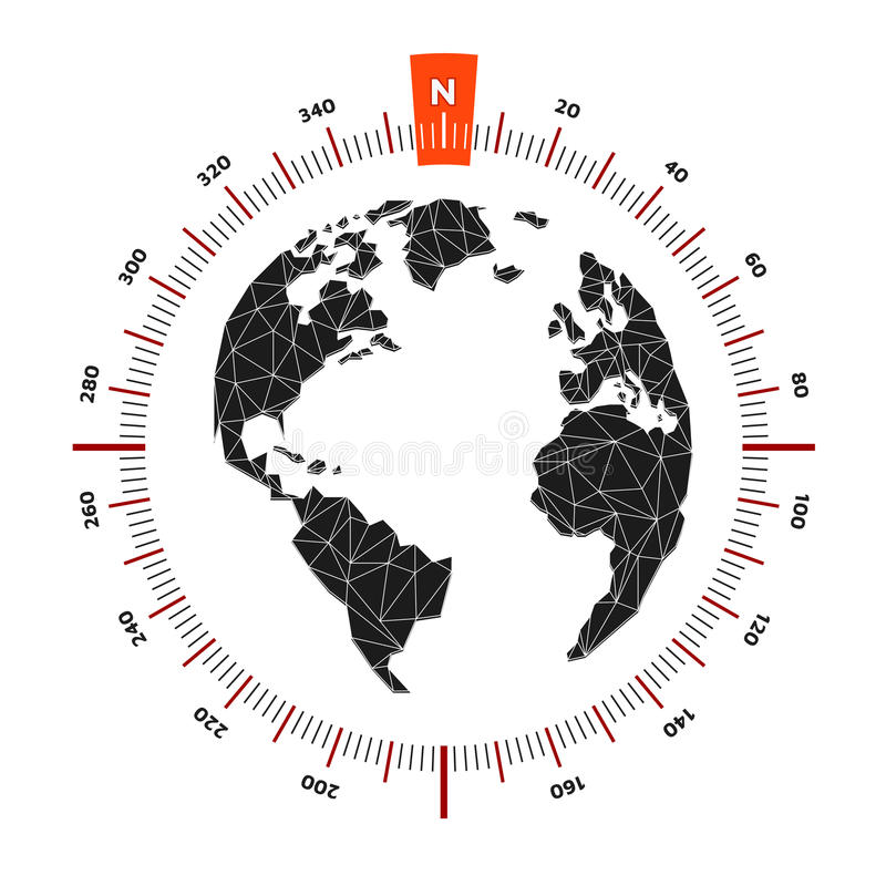 Globe world map compass nautical travel. Scale is 360 degrees. vector illustration