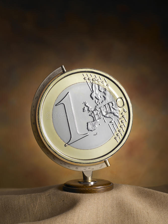 Globe, World Map With Euro Coin Stock Photo