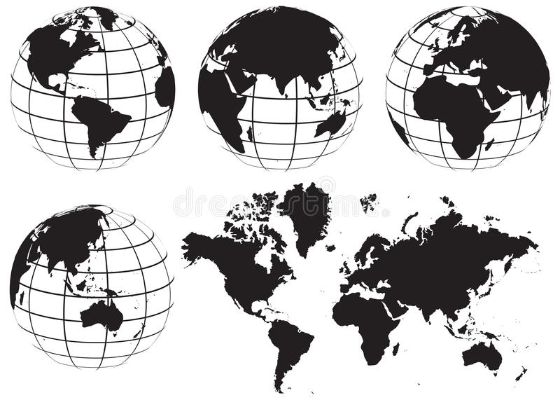 World map black and white vector globe world map set black and white stock vector illustration of gumiabroncs Gallery