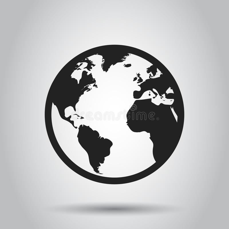 Globe world map vector icon. Round earth flat vector illustration. Planet business concept pictogram. stock illustration