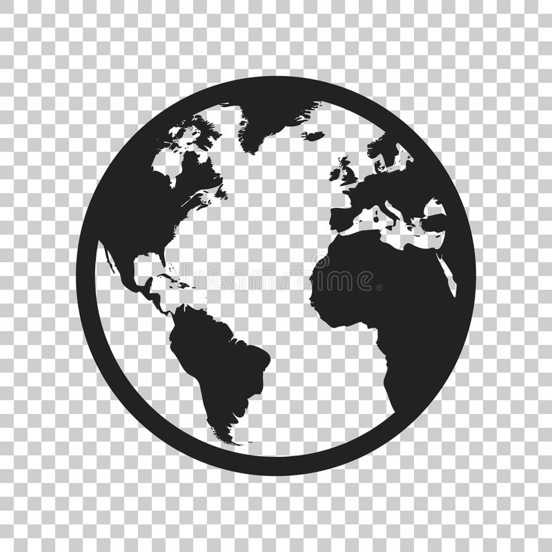Globe world map vector icon. Round earth flat vector illustration. Planet business concept pictogram on isolated transparent back. Ground royalty free illustration