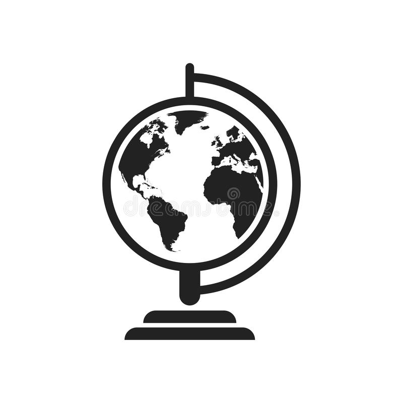 Globe world map vector icon. Round earth flat vector illustration. Planet business concept pictogram on white background. royalty free illustration