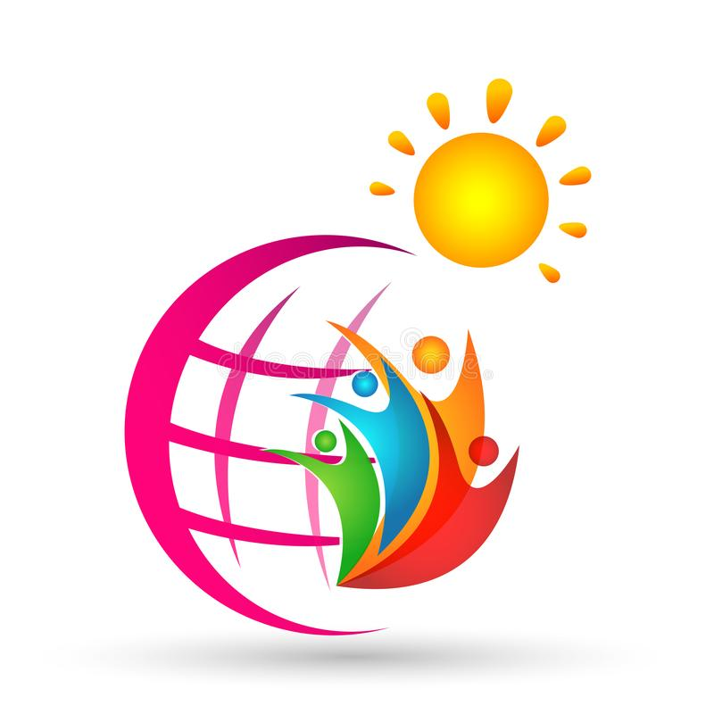 Globe world sun colorful people report wellness together logo icon element concept vector illustrations on white background. In ai10 illustrations stock illustration