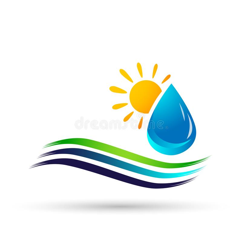 Water drop save water globe people life care logo concept of water drop wellness symbol icon nature drops elements vector design royalty free illustration