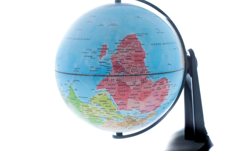 Globe of the World . Globe of the world on a white background . Great way to study Geography stock image